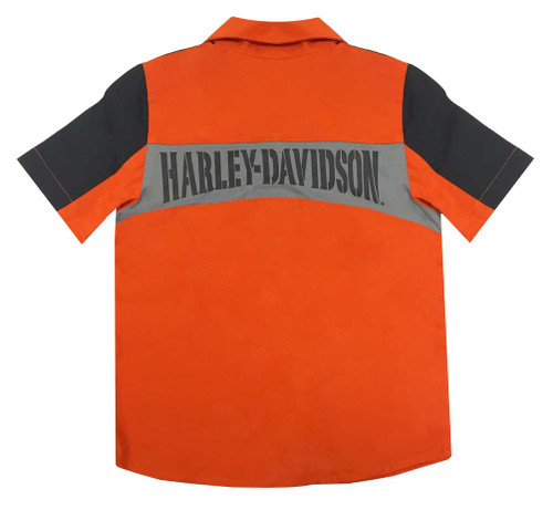 Harley-Davidson® Big Boys' Embroidered Colorblocked Shop Tee, Orange 1090545 - A
