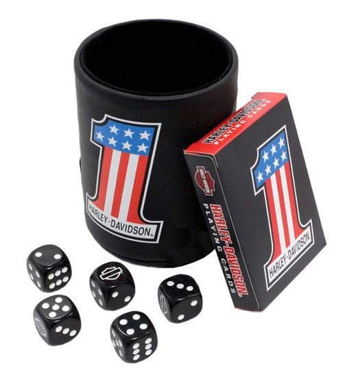 Harley-Davidson® #1 American Flag Game Set : Dice Cup, Cards & Dice 609 - A