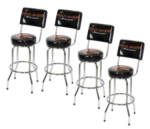 Harley-Davidson® Bar & Shield Bar Stool With Back Rest HDL-12204 SET OF 4 - A