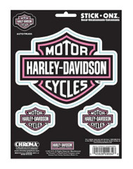 Harley-Davidson® Pink Bar & Shield 6 x 8 in Decals 3pc Stickers CG9934