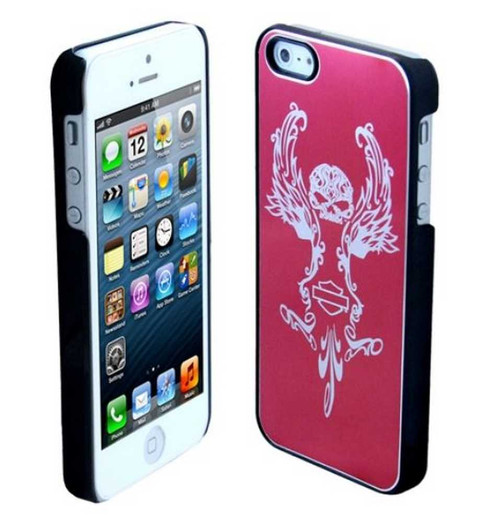 Harley-Davidson® Aluminum iPhone 5/5s Shell Etched Skull Graphic Pink 07640 - A