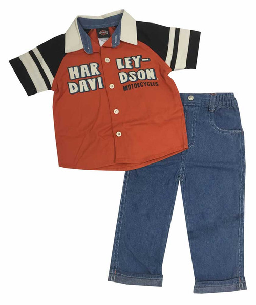 Harley-Davidson® Baby Boys' Denim Pant - Shirt Set, Denim/Orange/Black. 2061553 - C