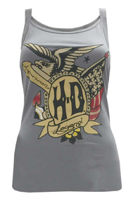 Harley-Davidson® Women's Tank Top, Vintage American Sketch Graphic, Gray - A