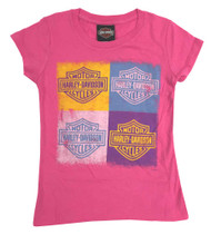 Harley-Davidson® Big Girls' Youth Bar & Shield Cubes Short Sleeve Tee, Hot Pink