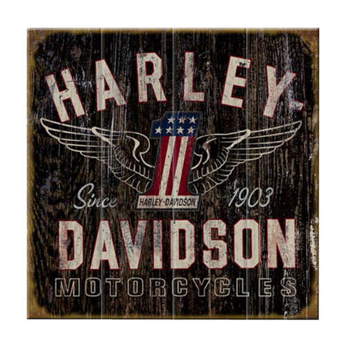 Harley-Davidson® 28 x 28 Genuine Winged #1 Distressed Wood Sign W11-HARL-GCGPX12