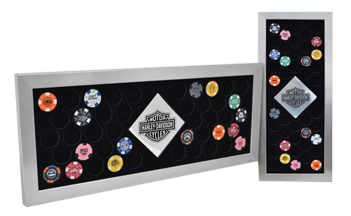 Harley-Davidson® 44 Piece Poker Chip Frame, 11 x 26 Inch, Brush Metal Silver 6944