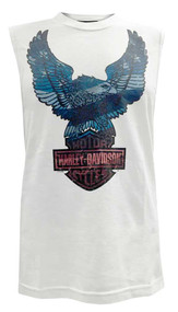 Harley-Davidson® Men's Up-Wing Eagle American Flag Sleeveless Muscle Tee, White