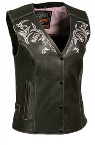 Milwaukee Leather Women's Vest w/ Reflective Tribal Design & Piping ML1296
