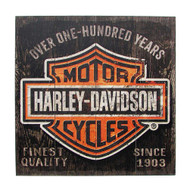 Harley-Davidson® 28 x 28 Over One Hundred Years B&S Wood Sign W11-HARL-SHIELD