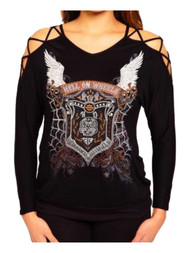 Harley-Davidson® Women's Pure Hell Embellished Studded Long Sleeve Top, Black