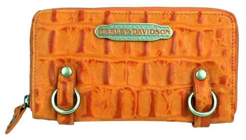 Harley Davidson Womens Orange Hammered Croco Zip Clutch Wallet HC7990L-ORG