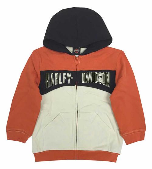 Harley-Davidson® Big Boys' Hooded Sweatshirt, Embroidered H-D, Orange 6591535