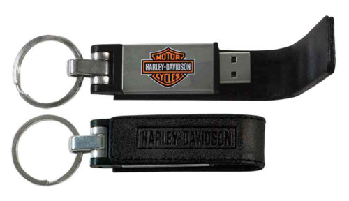 Harley-Davidson® Bar & Shield Metal USB Key Chain w/ Leather Case, Black KY51664