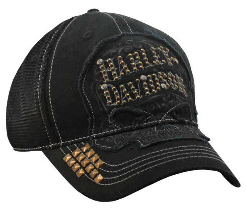 Harley-Davidson® Womens Studded Ornate Willie G Skull Baseball Cap, Black BC14630
