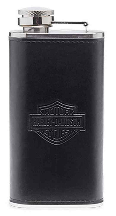 Harley-Davidson® Bar & Shield Logo Flask Barware. Black/Silver. 96809-16V