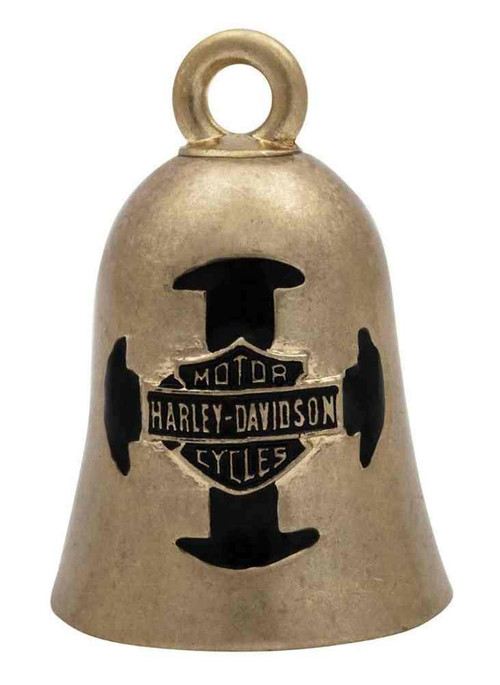 Harley-Davidson® Bar & Shield Cross Ride Bell, Gold Durable Zinc HRB058