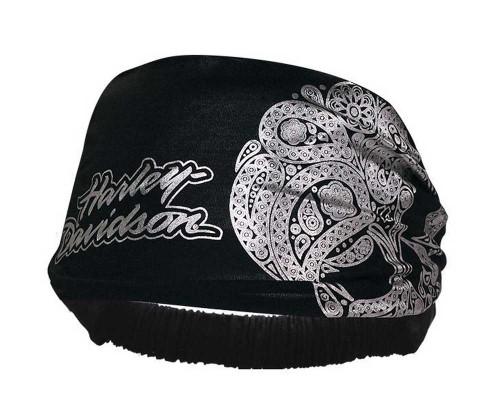 Harley-Davidson® Women's Skull Paisley Headband Scrunchie Black HE02330