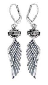 Harley-Davidson® Women's Bar & Shield Winged Dangle Earrings HDE0126