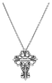 Harley-Davidson® Womens Necklace, Bar & Shield Filigree Cross, Silver HDN0256