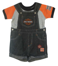 Harley-Davidson® Little Boys' 2 Piece Denim Overall Shorts & Creeper Set 3071657 - A