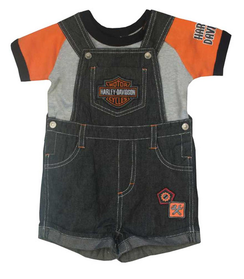 Harley-Davidson® Baby Boys' 2 Piece Denim Overall Shorts & Creeper Set 3061657 - A