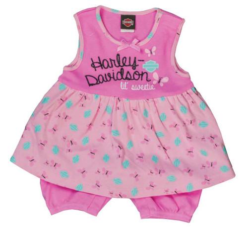 Harley-Davidson® Baby Girls' Glittery Newborn Printed Peplum Romper, Pink 3001621