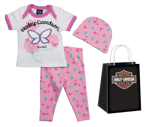 Harley-Davidson® Baby Girls' Embroidered 3 Piece Gift Set w/ Gift Bag 2501617