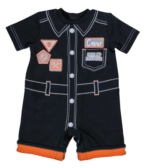 Harley-Davidson® Baby Boys' Interlock Newborn Printed Mechanic Romper 3051653