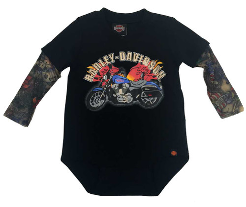 Harley-Davidson® Baby Boys' Motorcycle Newborn Creeper w/ Tattoo Sleeves 3050641