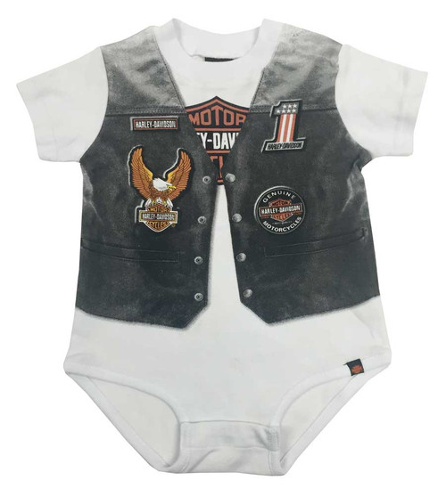 Harley-Davidson® Baby Boys' Printed-On Motorcycle Vest Infant Creeper 3060629