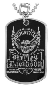 Harley-Davidson® Dog Tag, Winged Skull Distressed Chain/Keychain, Silver 8002763 - A
