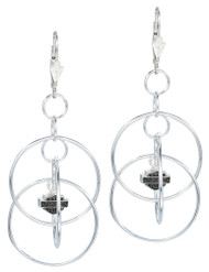 Harley-Davidson® Women's Earrings, Multi Hoop Bar & Shield Dangle, Silver HDE0055