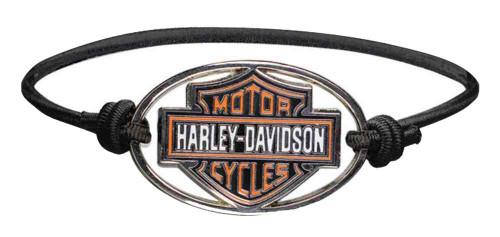 Harley-Davidson® Bar & Shield Metal Charm Logo Elastic Wristband, Black WB30206