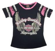 Harley-Davidson® Little Girls' Glittery Winged B&S Sporty Tee, Black/Pink 1020569