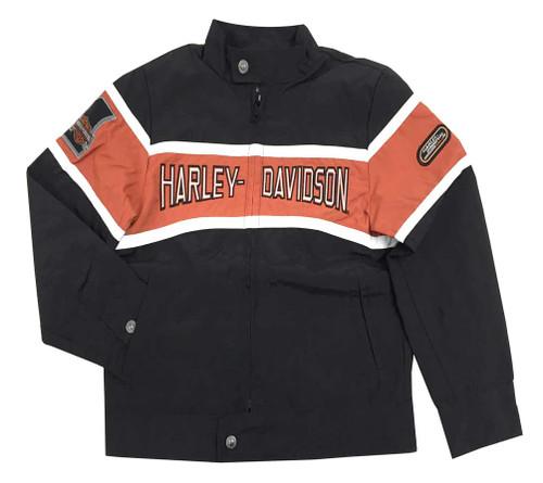 Harley-Davidson® Big Boys' Nylon Wind Breaker Jacket, Black/Orange 0296062 - A