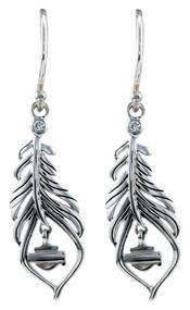 Harley-Davidson® Women's Large Boho Feather Earrings, Sterling Silver HDE0406
