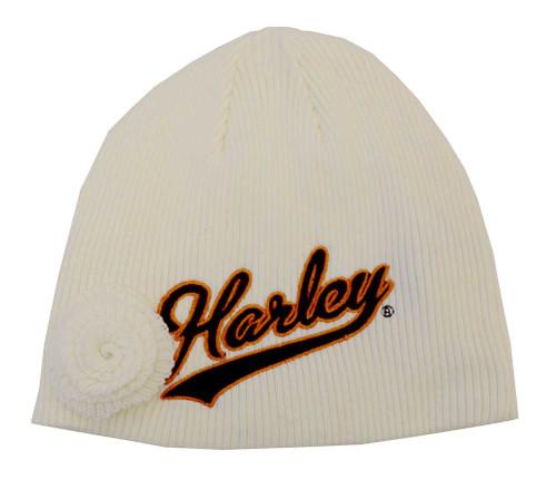 Harley-Davidson® Big Girls' Skull Cap, H-D Script Flower Beanie, Tan 3330374