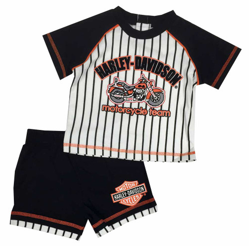 Harley-Davidson® Baby Boys' Jersey Short - Tee Set, White/Black/Orange. 2052511