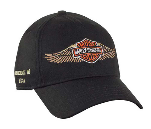 Harley-Davidson® Bar & Shield Straight Wings Baseball Cap, Black BC33930