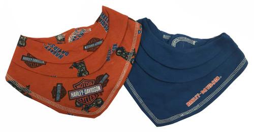 Harley-Davidson® Baby Boys' Motorcycle Bandana Bibs Gift Set, Orange/Blue 7051563