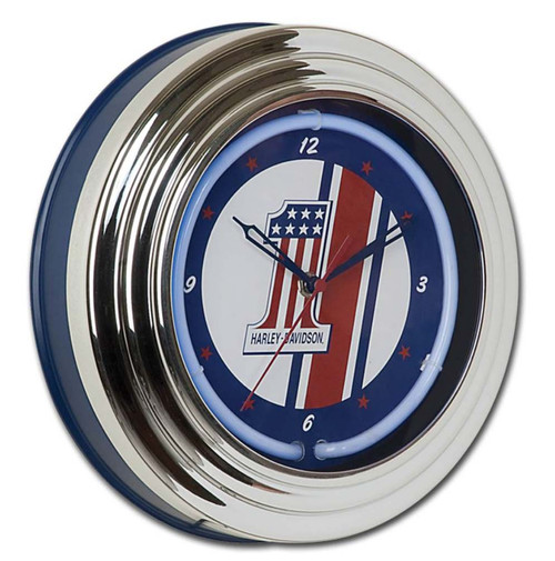Harley-Davidson® #1 Red, White and Blue Racing Blue Neon Clock HDL-16622