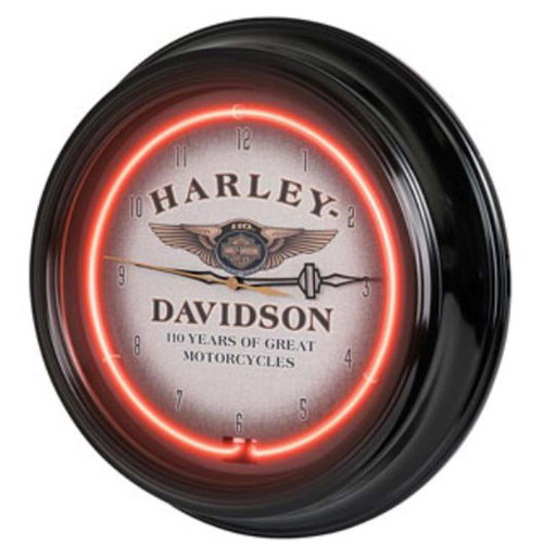 Harley-Davidson® 110th Anniversary Bar & Shield Red Neon Clock HDL-16628
