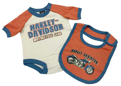 Harley-Davidson® Baby Boys' Interlock 2 Piece Bib & Creeper Set, Khaki 3051577