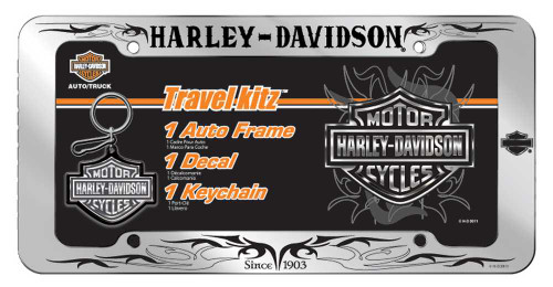Harley-Davidson® Bar & Shield Scroll Travel Kit: Frame, Decal & Keychain CG6036