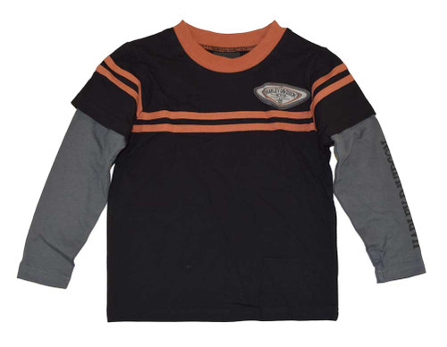 Harley-Davidson® Big Boys' H-D Patch Long Sleeve Double Tee, Black 4291388 - A