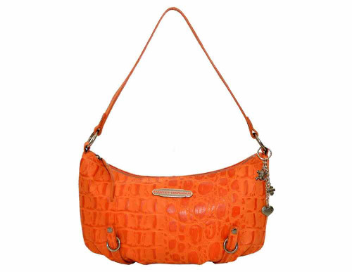 Harley Davidson Womens Orange Hammered Croco Shoulder Bag Purse HC7942L-ORG