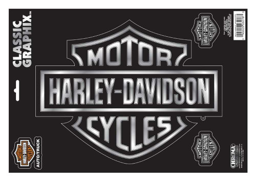 Harley-Davidson® Bar & Shield Black Chrome Classic Graphix, 9 x 13 Inch CG3276
