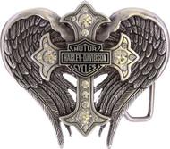 Harley-Davidson® Women's Back Roads Cross Winged Belt Buckle Chrome HDWBU10453