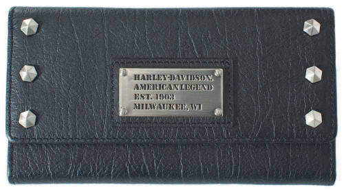 Harley Davidson Womens All Bark Black Trifold Clutch Wallet AB7790L-Black