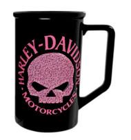 Harley-Davidson® Beaded Pink Willie G. Skull Logo Coffee Mug Black HD-HDP-1397